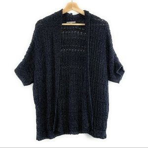 Gap Open Front Knit Sweater Navy with Silver